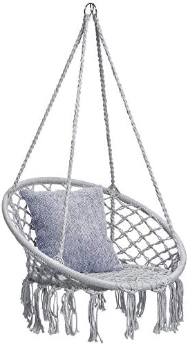 Best Choice Products Handwoven Cotton Macram Hammock Hanging Chair Swing for Indoor Outdoor Use w Backrest, Fringe Tassels, 265 Pound Capacity – Gray