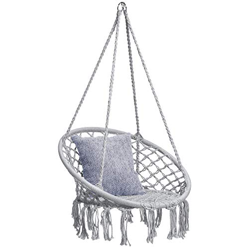 Best Choice Products Handwoven Cotton Macrame Hammock Hanging Chair Swing for Indoor & Outdoor Use w/Backrest - Gray (Swing Room Chair)