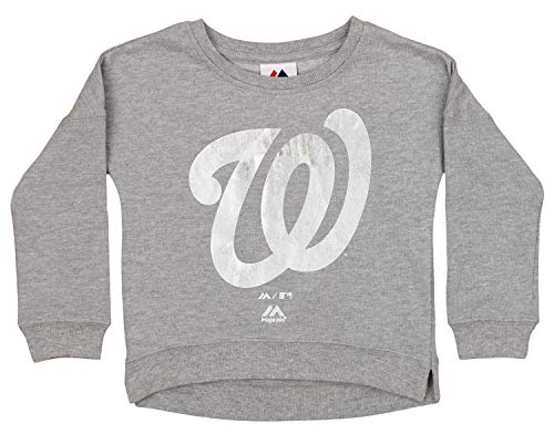Outerstuff MLB Little Girls Washington Nationals Dancing in The Dugout Crew Neck Sweater, - Nationals Washington 2 Mlb Piece