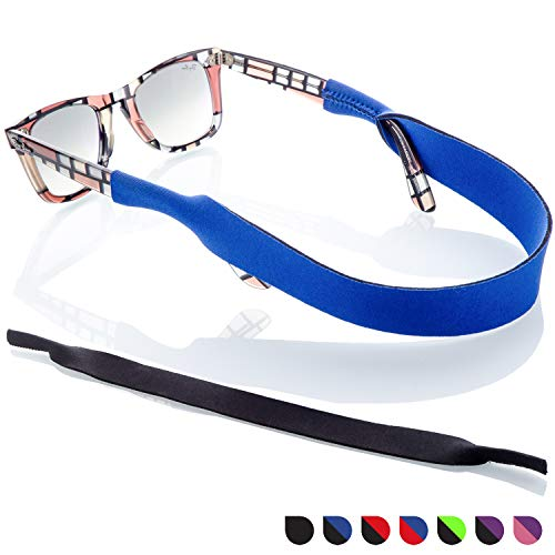 Sunglass Glasses Strap - 2 Pack Sport Eyewear Retainer - Anti Slip Fast Drying - Fits All (Blue + Black)