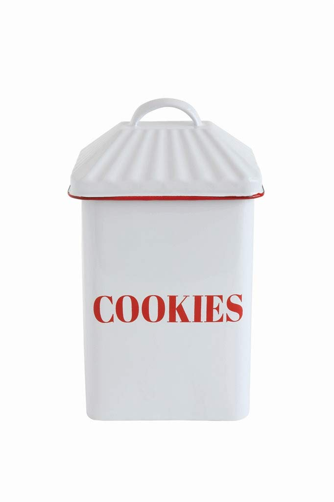 Country Christmas Enameled Cookie Canister