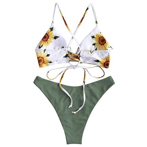 Zlolia Women's Sunflower Print Brazilian Bikini 2Pcs Slings Bare with Chest Pad Push-Ups High Waist Swimsuit& Panties Green