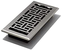 4-Inch by 10-Inch Oriental Floor Register, Brushed Nickel