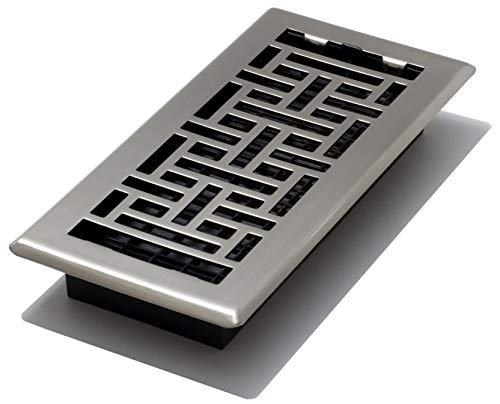 Decor Grates AJH410-NKL Oriental Floor Register, Brushed Nickel, 4-Inch by - Register Floor Nickel