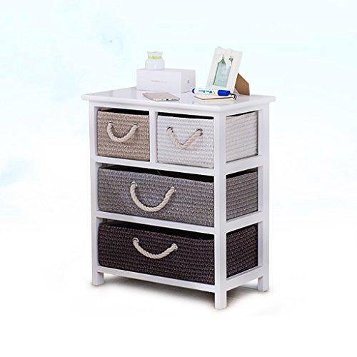 DDSS Drawer Locker-Nightstand Solid Wood Rattan Storage Box Drawer Bedroom Locker/4 Drawers /