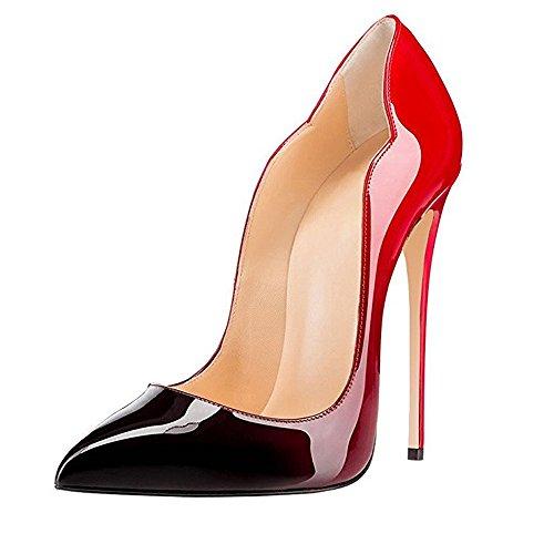 MIUINCY Damen High Heels Stilettos Slip-On Pumps Spitze Zehen Klassischer ¨¹Bergr??e Schuhe red&black