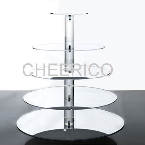 5 Tier Mirrored Effects Round Wedding Acrylic Cupcake Stand Tree Tower Cup Cake Display Dessert Tower by Cheerico
