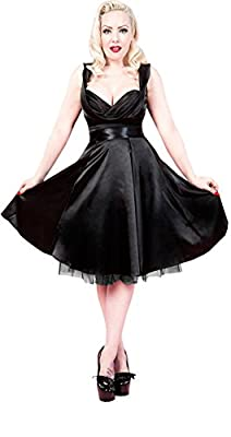 H & R London Satin 1950's Retro Cocktail Dress Black