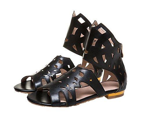 Solid Heels Toe Pu Women Sandals Zipper VogueZone009 Black Open Low XHFgAqWZ