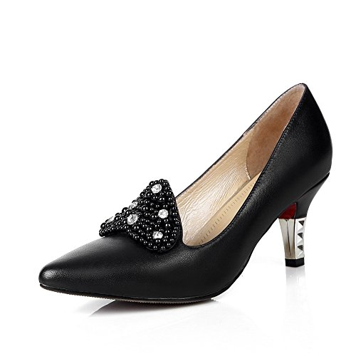 AllhqFashion Womens Pointed Closed Toe Cow Leather Kitten Heels Solid Pumps with Bead Black qOxcxYo7
