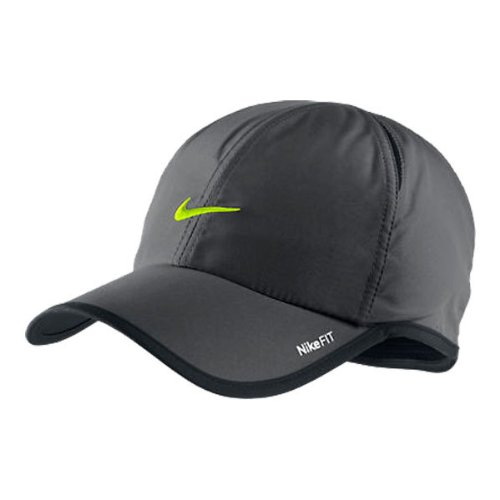 Nike Unisex Feather Light Tennis Hat, Charcoal/Volt