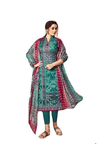 Shree Ganesh Retail Women's Green Digital Print Pure Cotton Long Salwar Kameez Suit Unstitched Dress Material