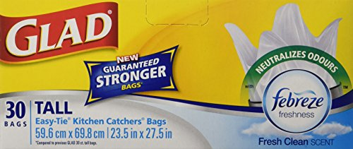 Glad Easy-Tie Tall Kitchen Catchers Garbage Bags with Febreze Freshness, 30 ct