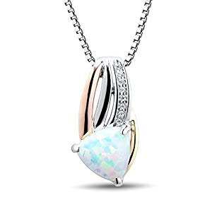 Trillion Created Opal and Diamond Necklace Rhodium Plated Sterling Silver with 10k Rose and Yellow Gold Accents