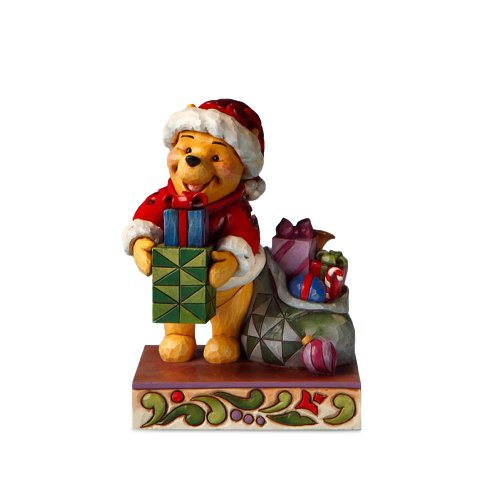 (Enesco Disney Traditions by Jim Shore 4016566 Winnie The Pooh Dressed as Santa Holding a Present Figurine, 6-Inch)