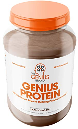 Genius Protein Powder - Natural Whey Protein Isolate & Micellar Casein Lean Muscle Building Blend, Grass Fed Post Workout Strength Builder for Weight Loss and Strength Gains, Lean Cocoa, 2 LB (Best Whey And Casein Blend Protein Powder)