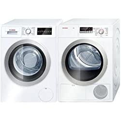 "Bosch 500 Series Laundry Pair with WAT28401UC 24"" Front Load Washer and WTG86401UC 24"" Electric Dryer in White"