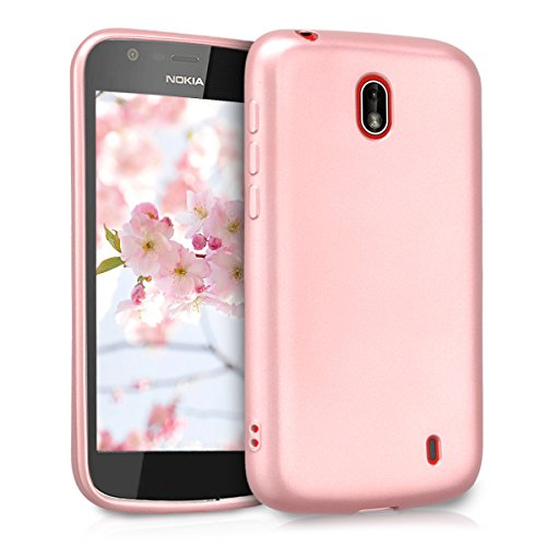 kwmobile TPU Silicone Case for Nokia 1 - Soft Flexible Shock Absorbent Protective Phone Cover - Metallic Rose Gold