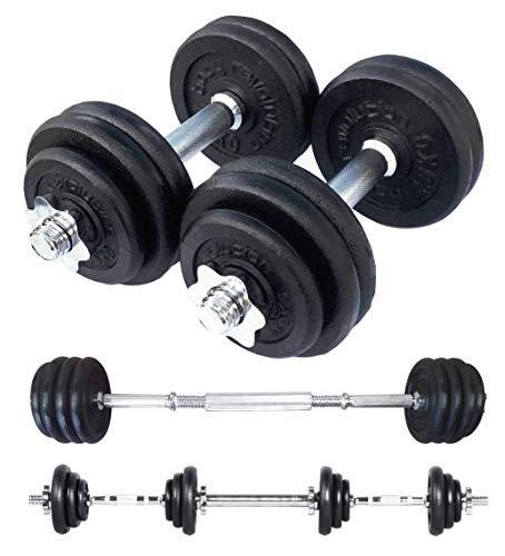 Body Revolution Haltères Ajustable - Fonte Dumbbell - Fonte Poids avec Spinlock Colliers et Haltère Connecteur Lien - Ensembles Disponibles  15kg 20kg 30kg 40kg 50kg