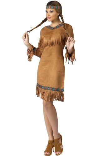 FunWorld Native American Adult Costume, Brown, Small/Medium (2-8)