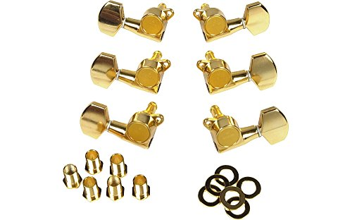 (Gotoh MLG3-G 3-On-A-Side Locking Tuners 6-Pack Gold)