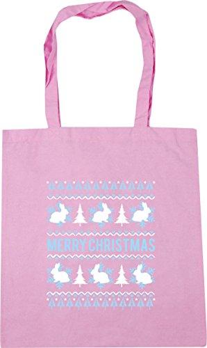 Hippowarehouse Feliz Rosa X38cm Navidad Conejito Litros Playa De Clásica Gimnasio Bolsa 10 Compras Asas De 42cm 5rf5Pqw7R