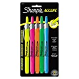 Retractable Highlighters, Chisel Tip, Assorted Fluorescent Colors, 5/Set, Total 48 ST, Sold as 1 Carton