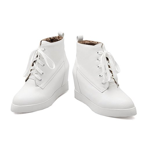 AllhqFashion Womens High-Heels Solid Round Closed Toe Soft Material Lace-up Boots White rrpk7qw