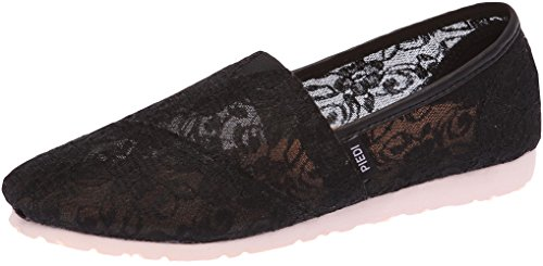 Paperplanes-1327 Femmes Charmantes Maille Floral Slip-ons Sneakers Chaussures Noir