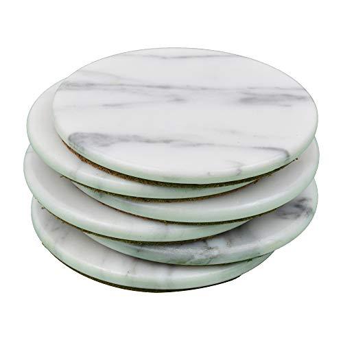 Marbco Marble Stone Coaster - Marble Coasters Set of 6 ( Italian White)
