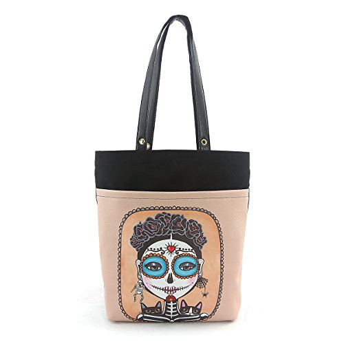 ashley-m-day-of-the-dead-girl-with-cats-tote-bag-in-canvas-material