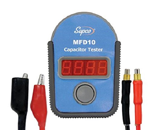 Supco MFD10 Digital Capacitor Tester with LED Display, 0.01 to 10000mF Range, 5% Accuracy