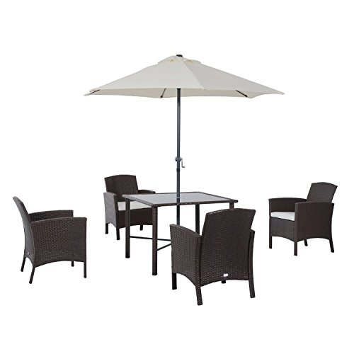 Outsunny 6-Piece Outdoor Patio Rattan Wicker Table, Chair an