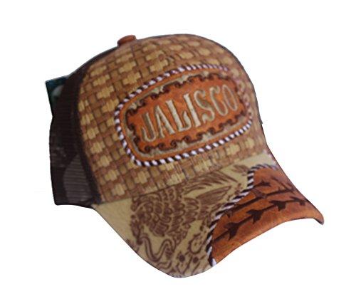 (Rob'sTees Jalisco Felt Bill Gorra Charra De Woven Mexico Flag Palma Mesh Straw Trucker Cap Dad Hat (Brown))