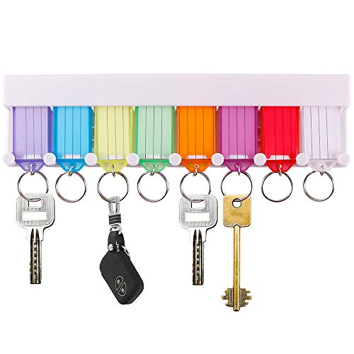 InterUS Key Tags Key Rack, 8 Assorted Color Key Tags