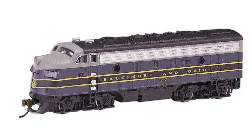 Emd F7a Unit - Bachmann Industries EMD F7-A Diesel Locomotive DCC Equipped B and O Train Car, Blue/Gray/Black, N Scale