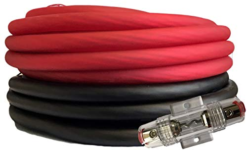SoundBox Connected 4 Gauge Red / Black Amplifier Amp Power/Ground Wire Set 50 Feet SuperFlex Cable 25 Each, AGU Fuse Holder