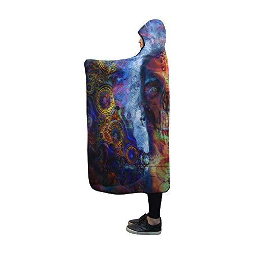 (WJJSXKA Hooded Blanket Psychedelic Art Artwork Fantasy Dream Color Neon D Blanket 60x50 Inch Comfotable Hooded Throw Wrap)