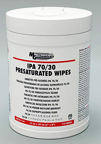- MG Chemicals 8241 IPA 70/30 Presaturated Wipes - Lint Free, 6