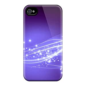 NEFRkAi1108PFNSF Tpu Phone Case With Fashionable Look For Iphone 4/4s - Purple Shooting Star Shine