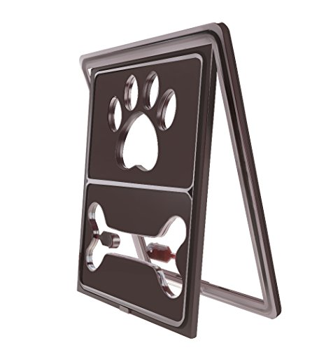 CEESC Dog Door for Sliding Screen Door, Cat Flap Pet Door Dog Claw Style with Automatic Lock, 3 Colors Options (Coffee) (Flap Three)