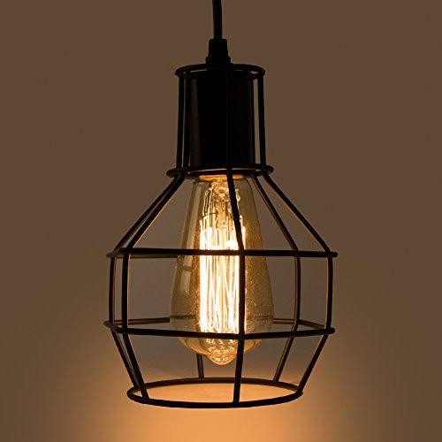 Veesee E26 Hanging Adjustable Industrial Lighting Fixtures,Vintage Ceiling Pendant Lamp Cage Holders,Edison Bulb Metal Chandelier Drop Light for Kitchen Island Restaurant Coffee(Black) by Veesee (Image #7)