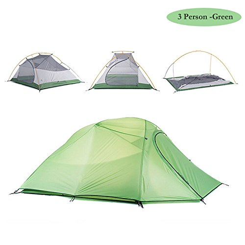 Weanas 2-3 Person 4 Seasons Double Layer Backpacking Tent, Ultralight Aluminum Rod Anti-UV Windproof Waterproof, Free Offer a Groundsheet, for Camping, Hiking, Travel, Hunting (Green, 2-3 Person)