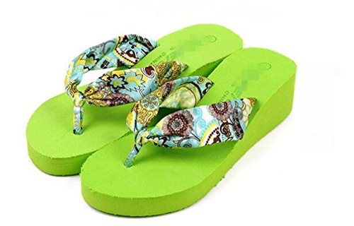 Bohemian Peep Flip Slippers Green Women Sandals Flops Toe ® Beach Summens Shoes qwAO01tw