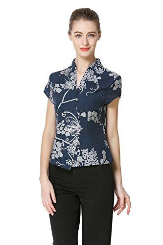 Bitablue Women's Graceful Short Sleeve Chinese Blouse (Large) Blue