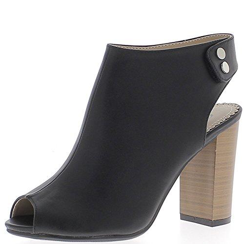 Low-boots noirs ouverts devant et derrière à talon épais de 10cm