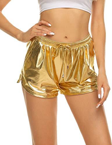Ekouaer Carnival Hot Shorts Dance Cosplay Pants for Women Girls Golden Yellow XXL]()