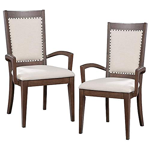 Furniture At Home Food & Wine Estate Collection Arm Chair, Set of 2, Dark Chocolate/Walnut