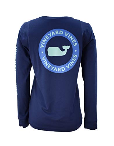 Vineyard Vines Women's Long Sleeve Catamaran Graphic Tee (Circle Whale Dot/Deep Bay, ()