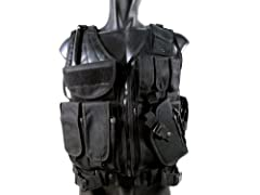 This is a tactical airsoft Cross Draw Vest by MetalTac. It comes with 9 pockets, a pistol holster, abd multiple holders. There is also a pocket in the upper left shoulder area that can be used to hold a radio or walkie talkie. The larger pock...